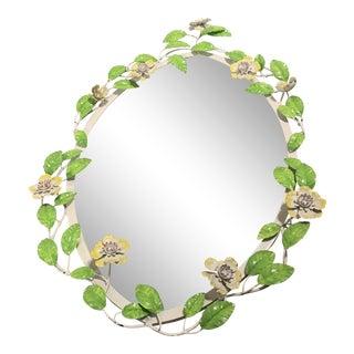 Vintage Tole Flower Mirror For Sale