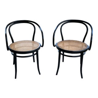1950s Vintage Stednig-Thonet Bentwood Cane Parlor Chairs -A Pair For Sale