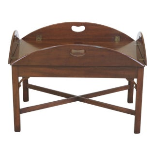 1960s Vintage Kittinger Butler Style Mahogany Tray Table For Sale