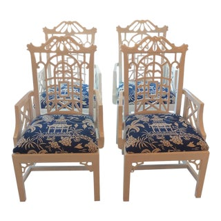 American of Martinsville Chinese Chippendale Lacquered Pagoda Arm Dining Chairs - a Pair For Sale