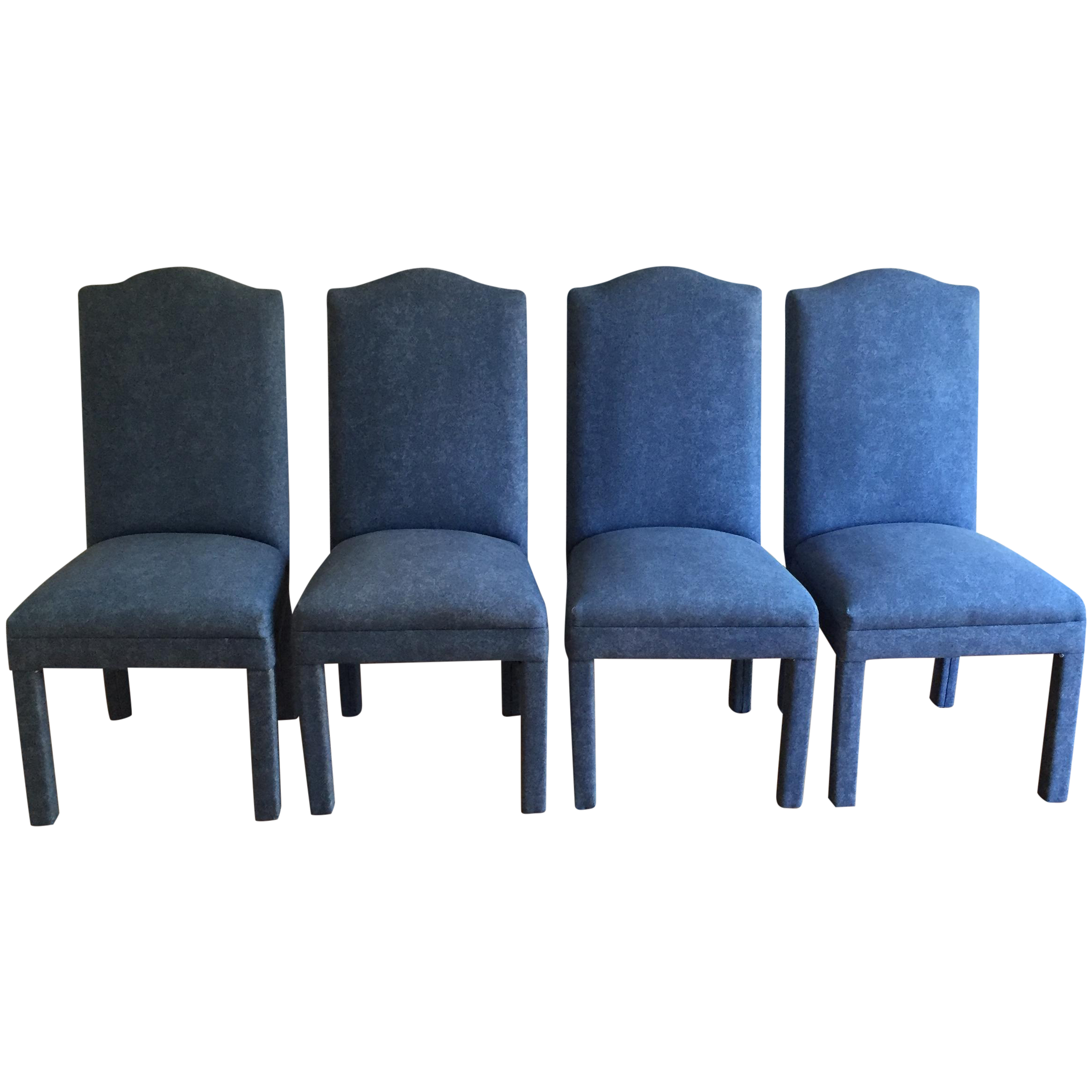 Attirant Denim Style Upholstered Parsons Chairs   Set Of 4