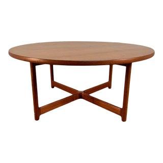 Danish Modern Teak X Base Coffee Table For Sale