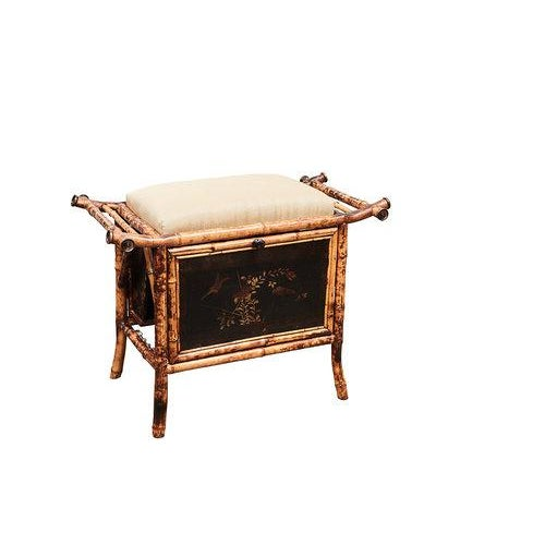 Victorian Bamboo bench with Lacquered Panels For Sale - Image 4 of 6