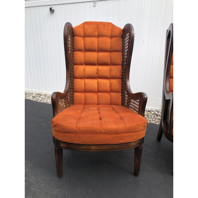 Wood 1970s Hollywood Regency Orange Velvet Canes Wingback Chairs - a Pair For Sale - Image 7 of 10