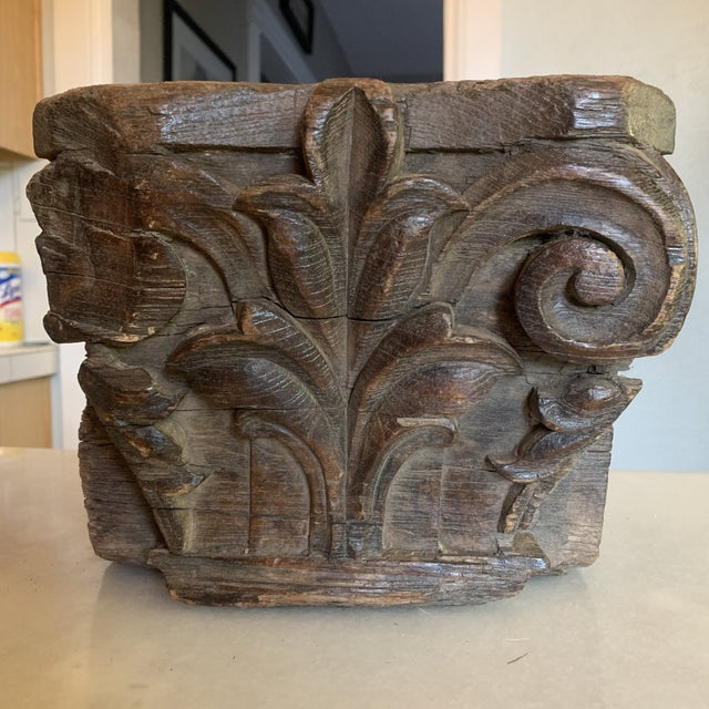 Wood English Colonial Indian Carved Teak Column Base Architectural Element C 1890 For Sale - Image 7 of 13