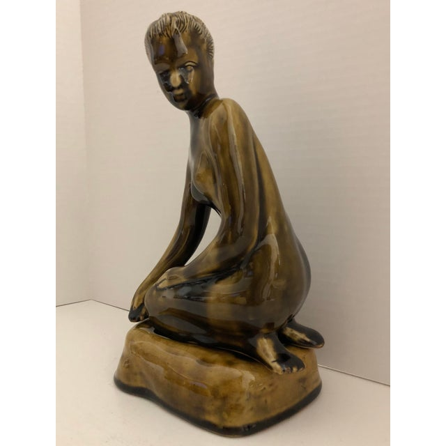 Abstract 1970's Female Nude Ceramic Sculpture on Base by Thai Celadon For Sale - Image 3 of 12