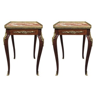 19th C. Antique Pair of French Marble Top Louis XV / XVI Transitional End Tables For Sale