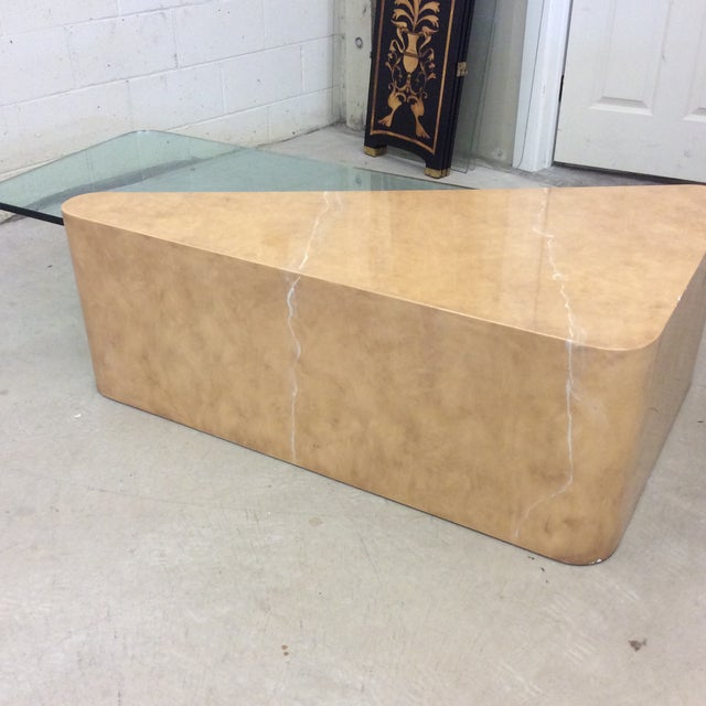 1980s French Contempory Style Cantilevered Glass and Faux Marble Table For Sale - Image 5 of 11