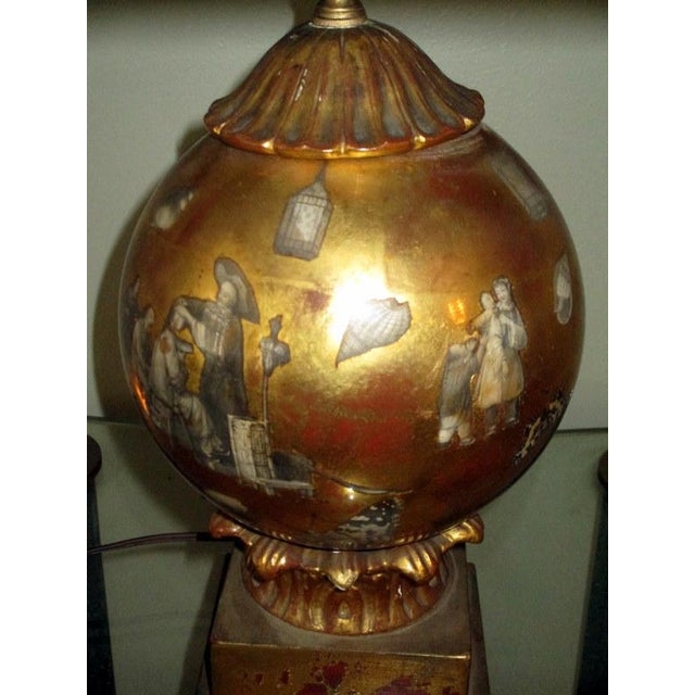 Gold Vintage Italian Reverse Painted Table Lamp With Oriental Scenes For Sale - Image 8 of 13