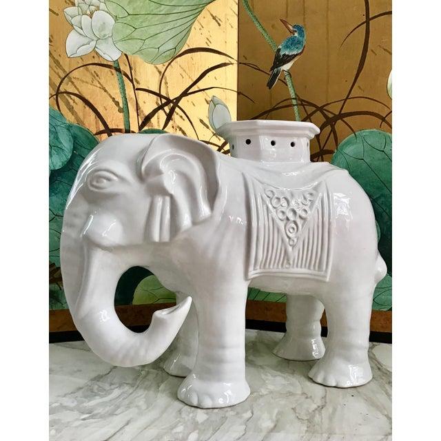 Pristine, vintage Blanc de Chine ceramic garden stool.