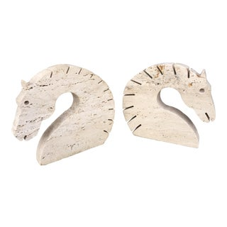 Travertine Marble Horse Head Bookends by Fili Mannelli for Raymor For Sale