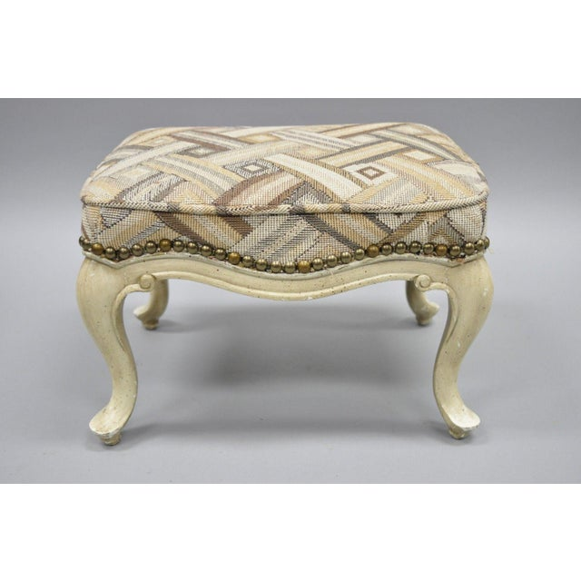 Petite French Provincial Louis XV Style Cream Painted Ottoman Small Footstool For Sale - Image 4 of 12