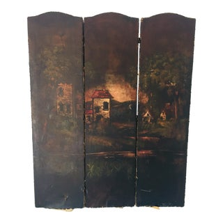 1910s Mediterranean 3-Panel Naugahyde Hand Painted Village Scene Vinyl Room-Divider