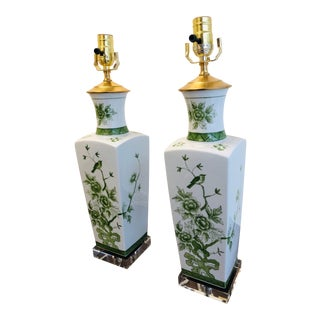 Painted Ceramic Floral and Bird Motif Green Chinoiserie Lamps - a Pair For Sale
