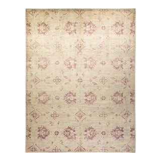 """Oushak, One-Of-A-Kind Hand-Knotted Area Rug - Beige, 10' 5"""" X 13' 8"""" For Sale"""