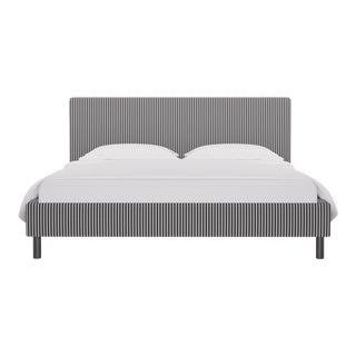 California King Tailored Platform Bed in Ink Fairfield Stripe For Sale