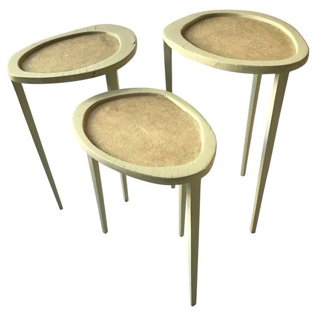 Set of Three R & Y Augousti Organic Shaped Shagreen Drink Tables For Sale