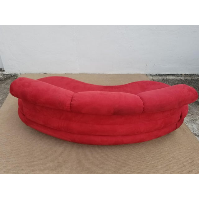 1980s Mid-Century Modern Adrian Pearsall for Comfort Red Curved Sofa For Sale In Miami - Image 6 of 12