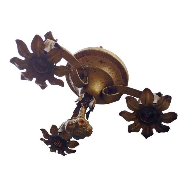Vintage Bronze Flower Ceiling Light Fixture For Sale
