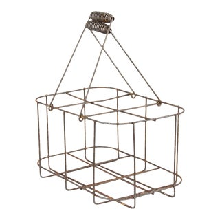 Mid 20th Century French Metal Bottle Holder Basket For Sale