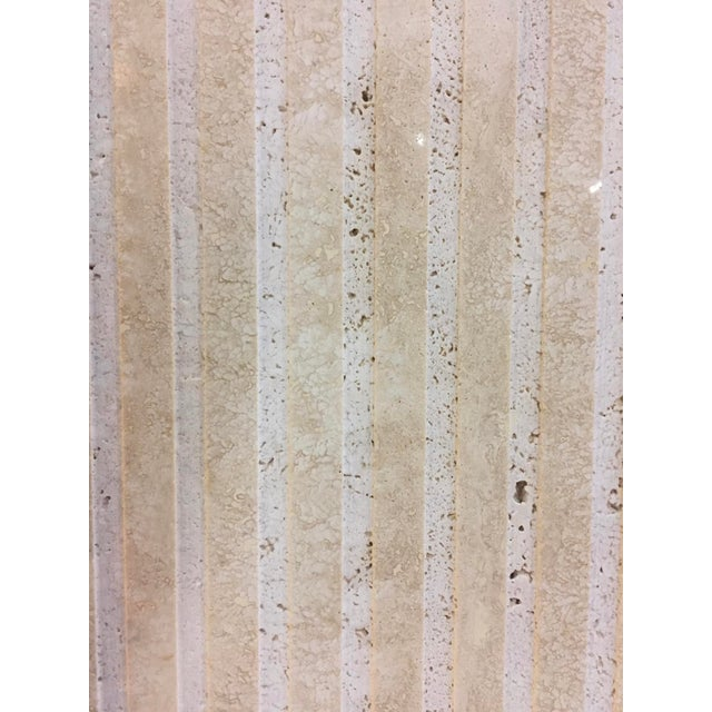 Vertical Cut Travertine Console Pedestal For Sale In Palm Springs - Image 6 of 10