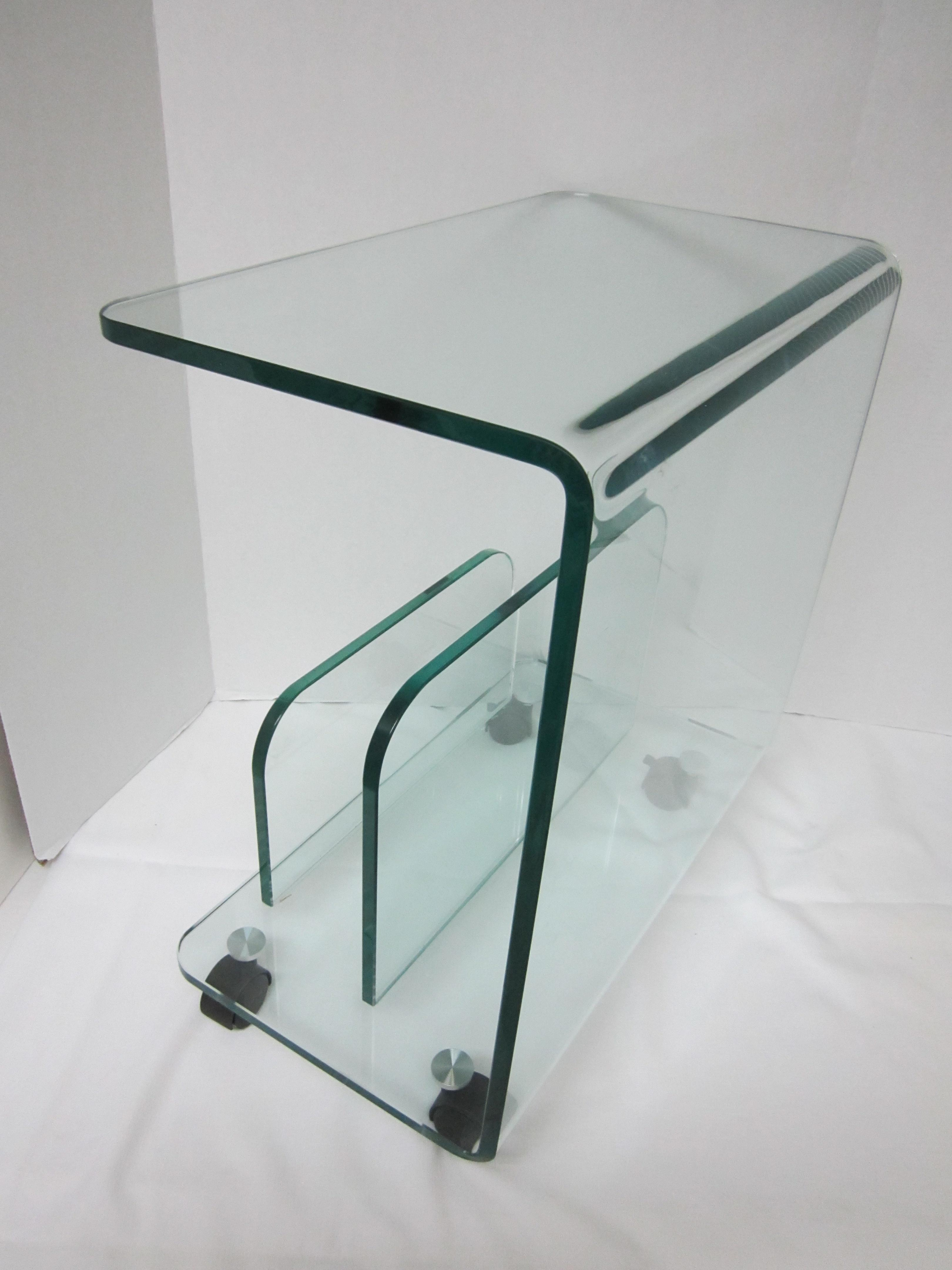 Rolling Glass End Table/Magazine Rack   Image 10 Of 11