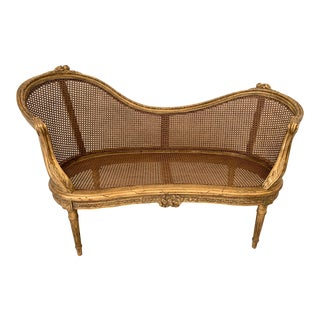 Antique Louis XV Gold Gilt Caned Settee For Sale