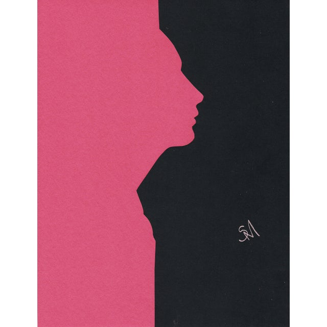"""Profile 4 - Pink"" Minimalist Collage by Sarah Myers For Sale"