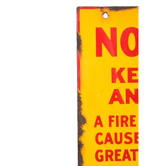 """Industrial Antique Yellow Porcelain """"No Smoking"""" Sign For Sale - Image 3 of 5"""