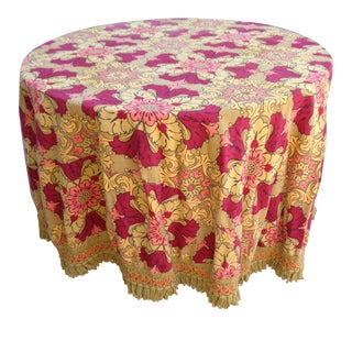 1960s Round Cotton Tablecloth in Autumn Colors For Sale