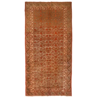 1920s Vintage Khotan Red and Tan Wool Rug - 6′2″ × 12′8″ For Sale