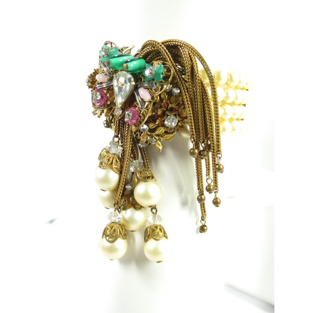 Boho Chic 1950s Miriam Haskell Faux Pearl, Crystal, & Art Glass Cuff Bracelet For Sale - Image 3 of 13