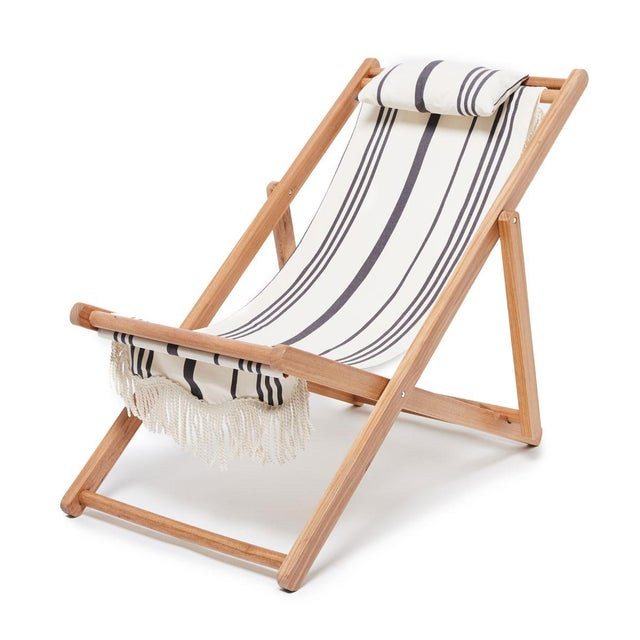 Contemporary Sling Outdoor Chair - Vintage Black Stripe with Fringe For Sale - Image 3 of 3