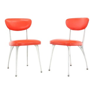 Red Upholstery Cast Aluminum Chairs - a Pair For Sale