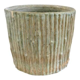 Faux Bois Glazed Ceramic Cache Pot For Sale
