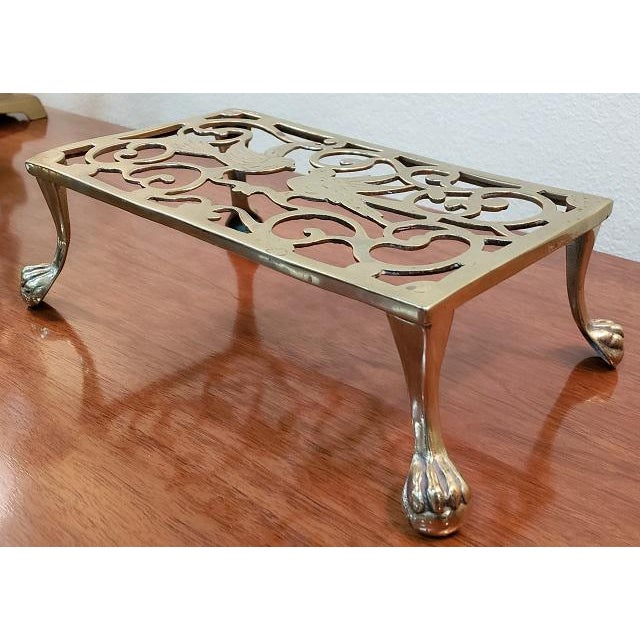 George III Style Brass Fireplace Trivet For Sale - Image 4 of 7