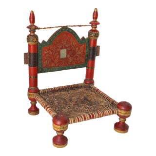 Hand Painted Rajasthani Side Chair For Sale