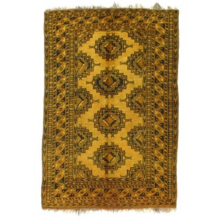 1920s Vintage Afghan Yamoud Rug - 4′4″ × 6′8″ For Sale
