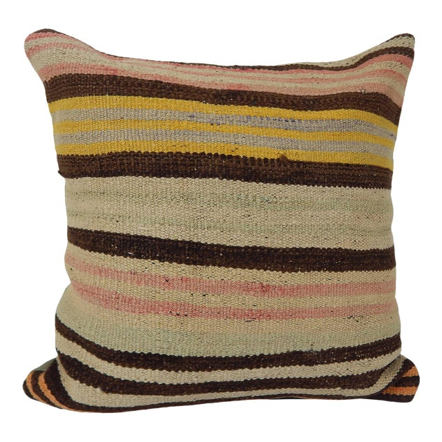 "Vintage Turkish Hemp Kilim Pillow 18"" X 18"" For Sale"