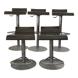 "Walnut and Chrome ""Pam"" Stools From Ligne Roset - Set of 5 For Sale"
