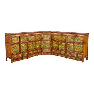 A Rare Tibetan Polychrome 5 Piece Corner Cabinet For Sale