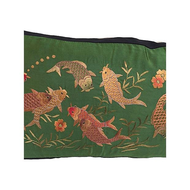 Embroidered Koi Fish Silk Pillow - Image 4 of 4