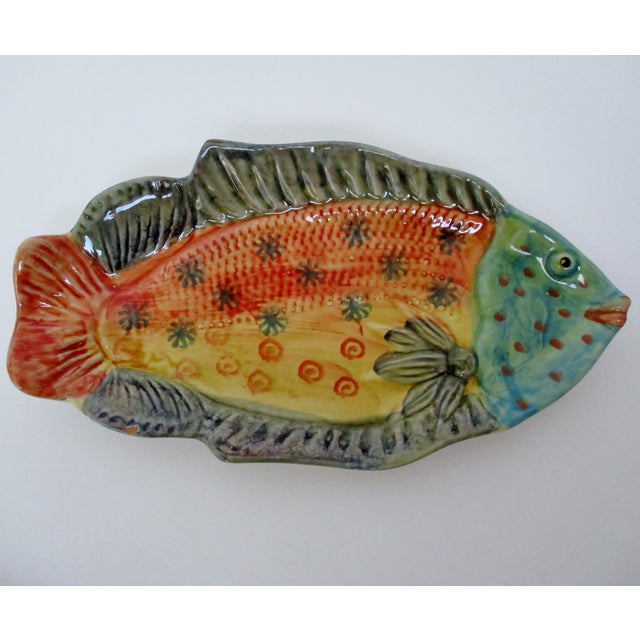 Country Italian Hanging Fish Plates, Set of 3 For Sale - Image 3 of 8