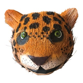 Outsider Art Coconut Cheetah Signed Folk Hand Carved & Painted Tiki Sculpture For Sale