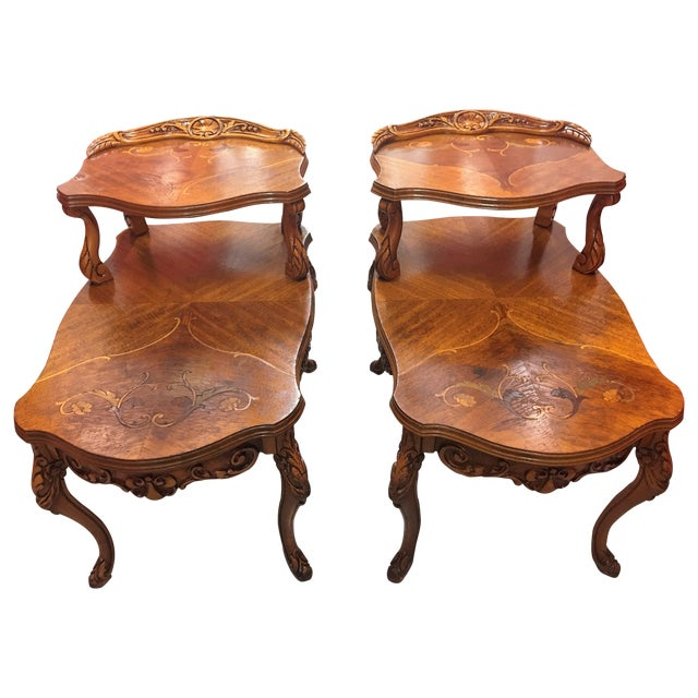 Double-Tier Carved Inlay End Tables - Pair - Image 1 of 11