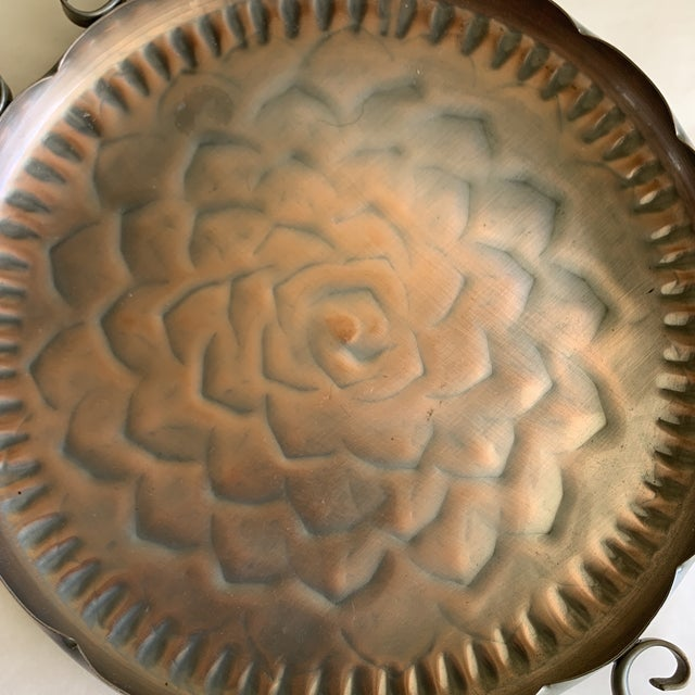 Metal Vintage Scalloped Copper Tray For Sale - Image 7 of 11