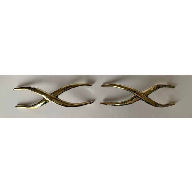Metal Pair of 1950s Polished Brass X Pulls For Sale - Image 7 of 13
