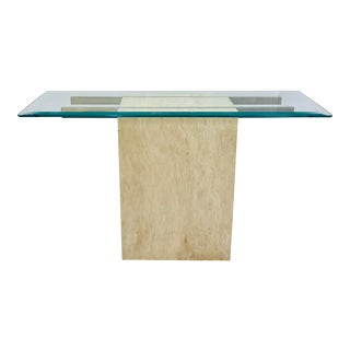 Vintage Modern Stone & Brass Console Table For Sale