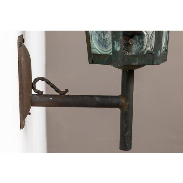 1950s Large Scandinavian Outdoor Wall Lights in Patinated Copper and Glass For Sale - Image 10 of 11