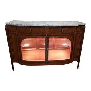 French Deco Mahogany & Burl Walnut Console / Bar Cabinet C.1920s For Sale